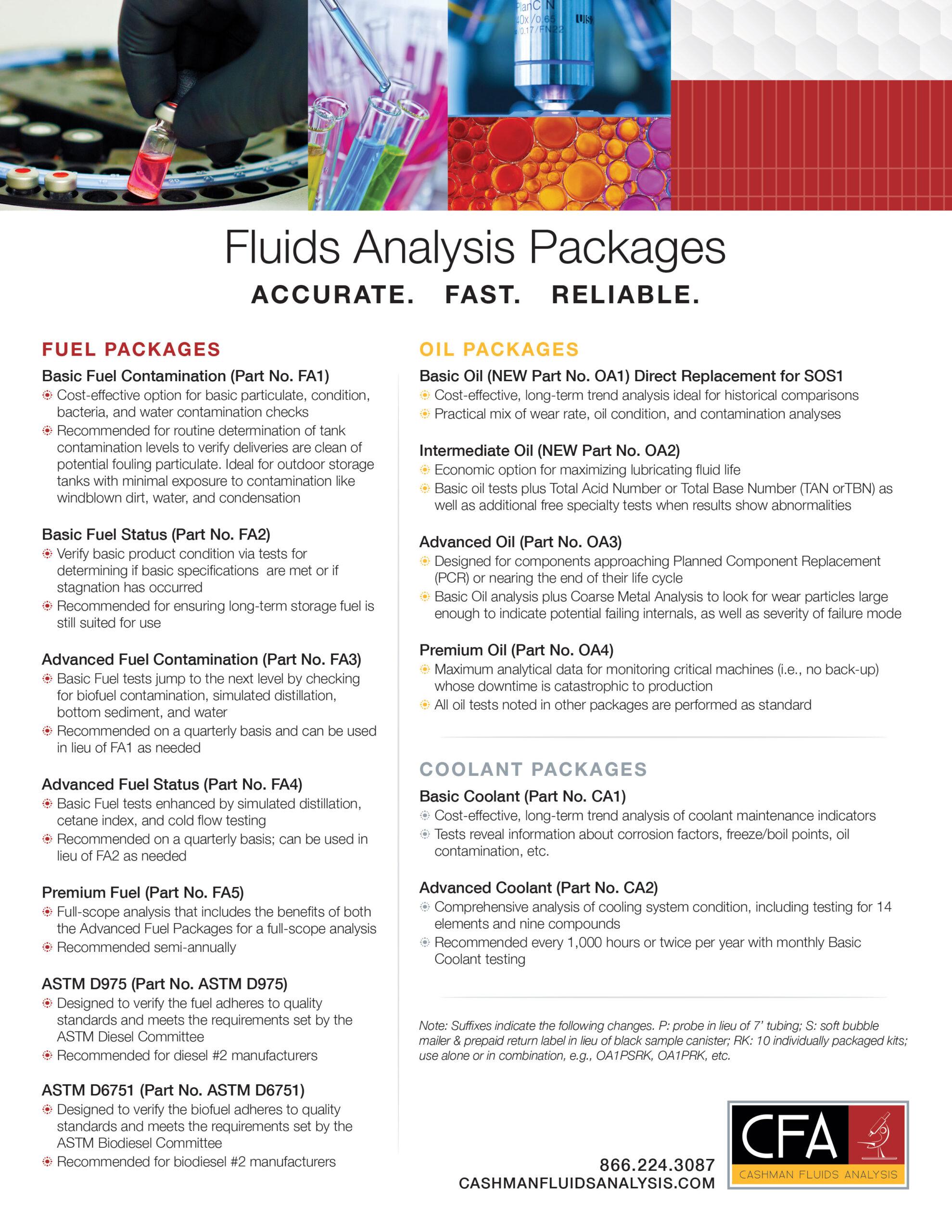 Cashman Fluids Analysis (CFA) Fluids Testing Kits